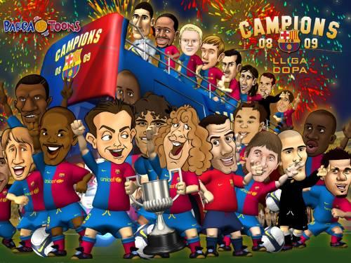 Каррикатуры на футболистов Барселоны 1